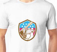 Wolf Baseball With Bat USA Stars Shield Retro Unisex T-Shirt