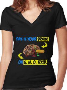 GMO BRAIN Women's Fitted V-Neck T-Shirt