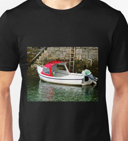 Red and white boat, Milk Harbour, Mullagmore, Donegal Unisex T-Shirt