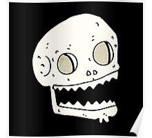 grinning skull cartoon Poster