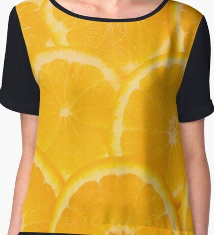 Fresh oranges and lemons background Chiffon Top