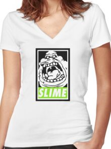 Obey Slimer Women's Fitted V-Neck T-Shirt