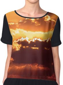 Outstanding sunset with beautiful sunbeams. Red sunset behind the clouds Chiffon Top