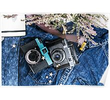 Old vintage cameras. Analogue photography. For photography lovers Poster