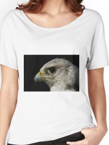 Close-up of gyrfalcon head against black background Women's Relaxed Fit T-Shirt