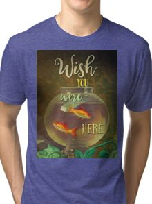 Wish You Were Here Pink Floyd Epic Rock And Roll Lyrics Inspired Retro Design Tri-blend T-Shirt