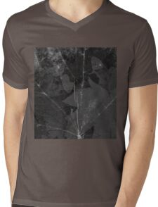 Black and white abstract, nature pattern. Leaf background. Maple leaves Mens V-Neck T-Shirt