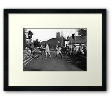 Flooding Somerset - Shifting sandbags at Burrowbridge Framed Print