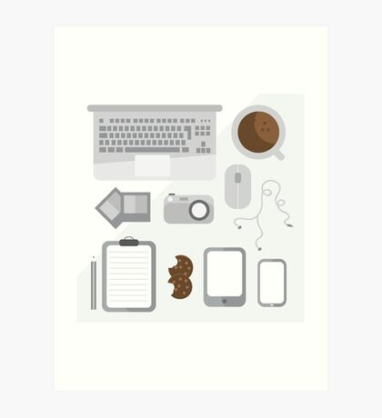 Geek illustration. Things left on the desk in order: coffee, laptop, tablet, smartphone, camera, mouse, headphones, cookies, notepad, pencil and photos. Gray colors Art Print