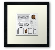 Geek illustration. Things left on the desk in order: coffee, laptop, tablet, smartphone, camera, mouse, headphones, cookies, notepad, pencil and photos. Gray colors Framed Print