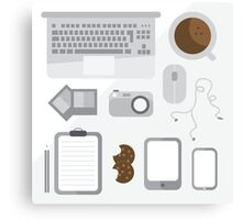 Geek illustration. Things left on the desk in order: coffee, laptop, tablet, smartphone, camera, mouse, headphones, cookies, notepad, pencil and photos. Gray colors Canvas Print