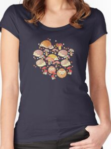 Woodland Hedgehogs - a pattern in soft neutrals  Women's Fitted Scoop T-Shirt