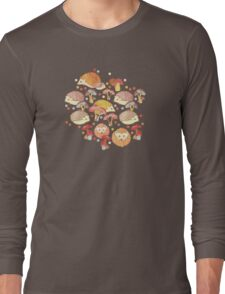 Woodland Hedgehogs - a pattern in soft neutrals  Long Sleeve T-Shirt