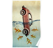 VW beetle and goldfish Poster