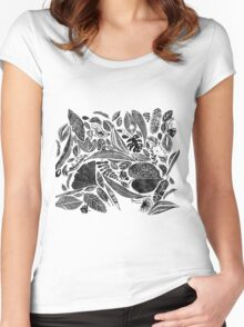 Mixed leaves, Lino cut printed nature inspired hand printed pattern Women's Fitted Scoop T-Shirt