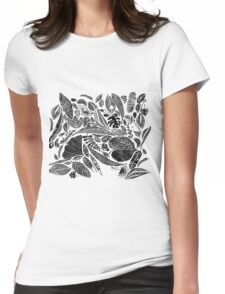 Mixed leaves, Lino cut printed nature inspired hand printed pattern Womens Fitted T-Shirt