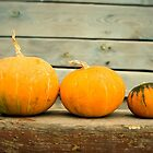Pumpkins on a wooden background by SIR13