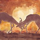 Territorial Dance in the African sunset by Maree Clarkson