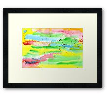 Watercolor Hand-Painted Abstract Red Yellow Green Blue Framed Print