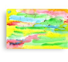 Watercolor Hand-Painted Abstract Red Yellow Green Blue Canvas Print