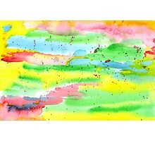 Watercolor Hand-Painted Abstract Red Yellow Green Blue Photographic Print