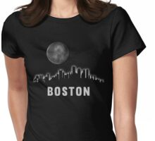 Boston Massachusetts Skyline Cityscape Night Womens Fitted T-Shirt