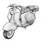 Lambretta 150ld Pencil Sketch by mik gailson