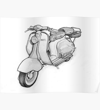 Lambretta 150ld Pencil Sketch Poster