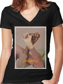san junipero Women's Fitted V-Neck T-Shirt