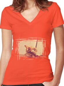 Retro Kitten Photo 4 Women's Fitted V-Neck T-Shirt