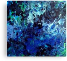 Lagoon Blue Water Abstract Painting Canvas Print