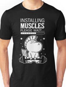 Unicorn Installing muscles please wait shirt Unisex T-Shirt