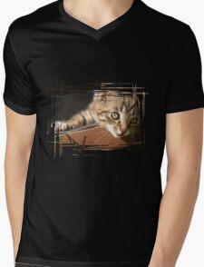 Striped kitten Mens V-Neck T-Shirt