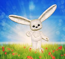 White plush bunny on grass field by AnnArtshock