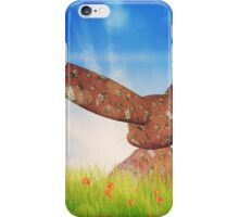 Plush pink bunny on grass field  iPhone Case/Skin