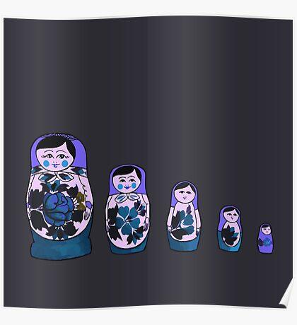 Russian Nesting Dolls - Purple Poster