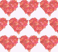 Heart Made of Hearts - Red Pink Orange by sitnica