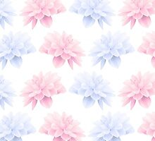 Blooming Flowers, Petals - Pink Blue White by sitnica