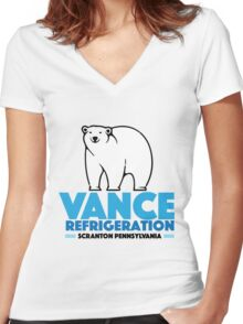 The Office Bob Vance Refrigeration Women's Fitted V-Neck T-Shirt