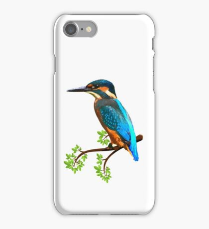 Cute and Colorful elegant kingfisher watercolor blue Bird iPhone Case/Skin