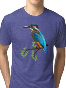 Cute and Colorful elegant kingfisher watercolor blue Bird Tri-blend T-Shirt