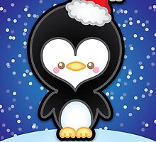 Cute Kawaii Christmas Penguin by Ladypixelle