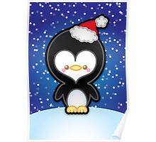 Cute Kawaii Christmas Penguin Poster