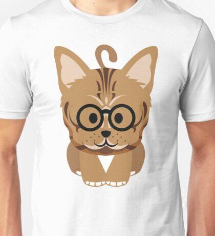 Bengal Cat Emoji Nerdy Noob Glasses Face Unisex T-Shirt