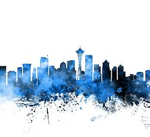 Seattle Washington Skyline by Michael Tompsett