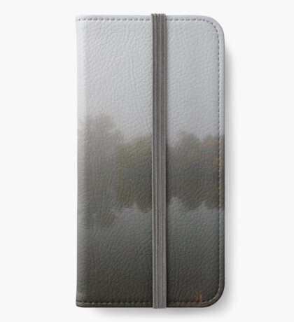 foggy lake reflection iPhone Wallet/Case/Skin