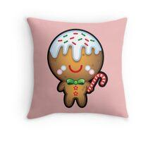 Cute Kawaii Gingerbread Man Throw Pillow