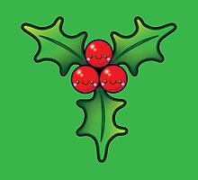 Cute Kawaii Christmas Holly Bunch by Ladypixelle
