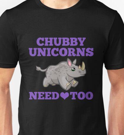 Chubby Unicorns Need Love Too Save Rhinos from Extinction Unisex T-Shirt
