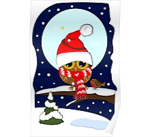 Baby Owl with oversized Santa hat and scarf Poster